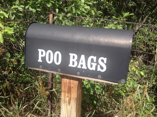 This trail crew kindly labeled the mailbox full of poop bags.